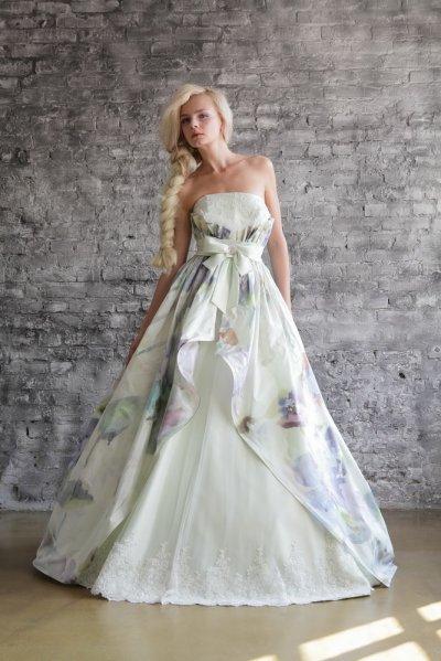 Жаккардовое свадебное платье 2014