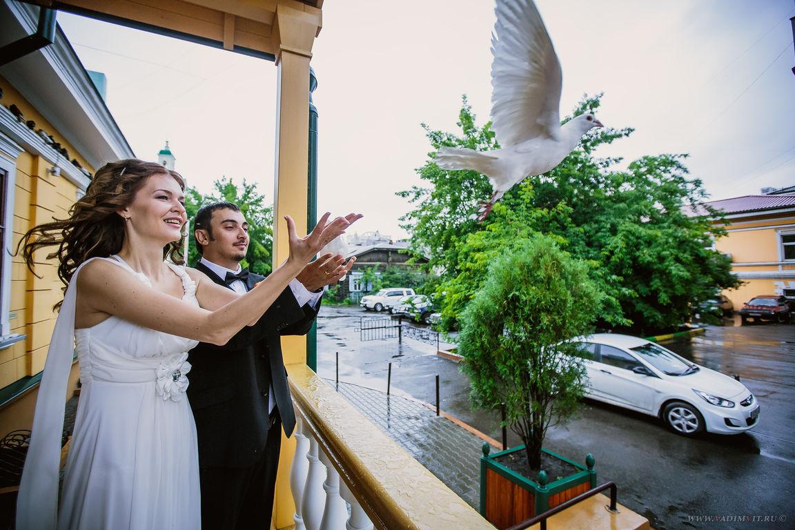 Запускание голубей у Дома семейых торжеств